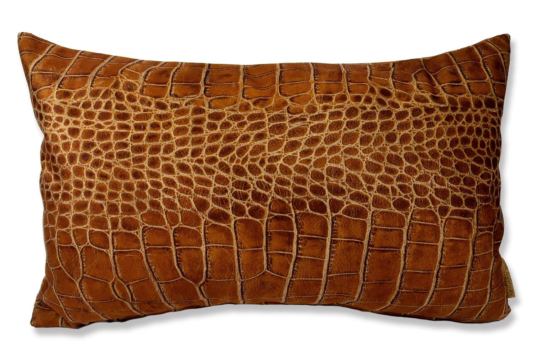 The Light brown Crocodile スペイン製 起毛スエード調 クロコダイル柄クッション ライトブラウン 50×30cm 中材付