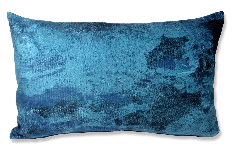 The Blue Fluid  スペイン製 起毛スエード調 クッション 両面ブルー 50×30cm 中材付