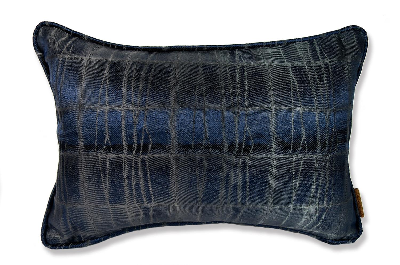 The ARMANI/CASA LISBON AVORIO アルマーニカーザ shiny and matt パイピングクッション ナイトブルー 45×30cm 中材付