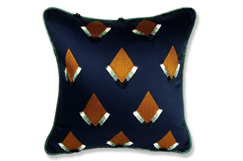 CASAMANCE(カサマンス)刺繍フリンジクッションカバー ブルー NO.372 40×40cm