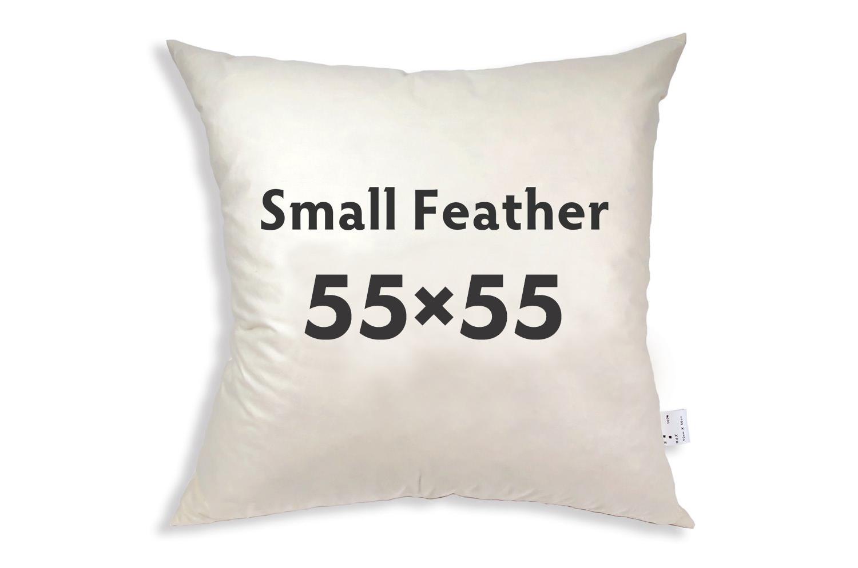 【受注生産品】The Feather  日本製ふかふかスモールフェザー(ダウン入) ヌードクッション(羽根 クッション 中身) 55×55cmカバー用
