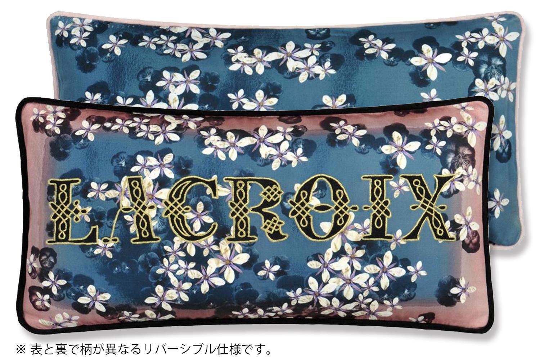 【海外取寄品】The Christian Lacroix クリスチャンラクロワ ラクロワ チェリー! ブルーデニム クッション 60×30cm 中材付