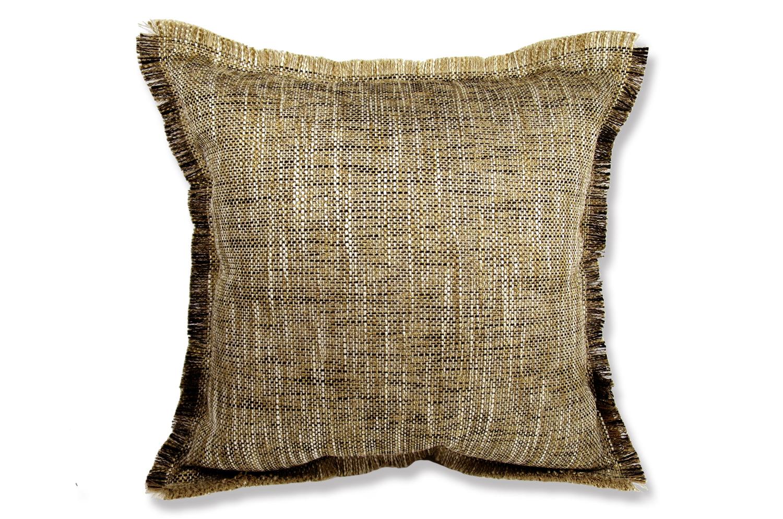 シャギーフリンジがナチュラルなブラウンミックスの美しいジャガード織ファブリックの45cmクッションカバー