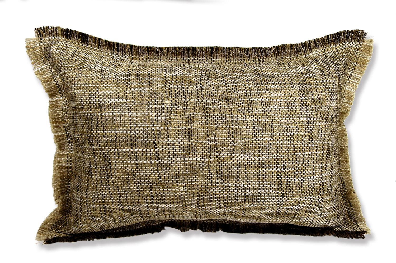 The Shaggy シャギーフリンジクッション ブラウン×ブラックミックス 45(49)×30(34)cm 中材付