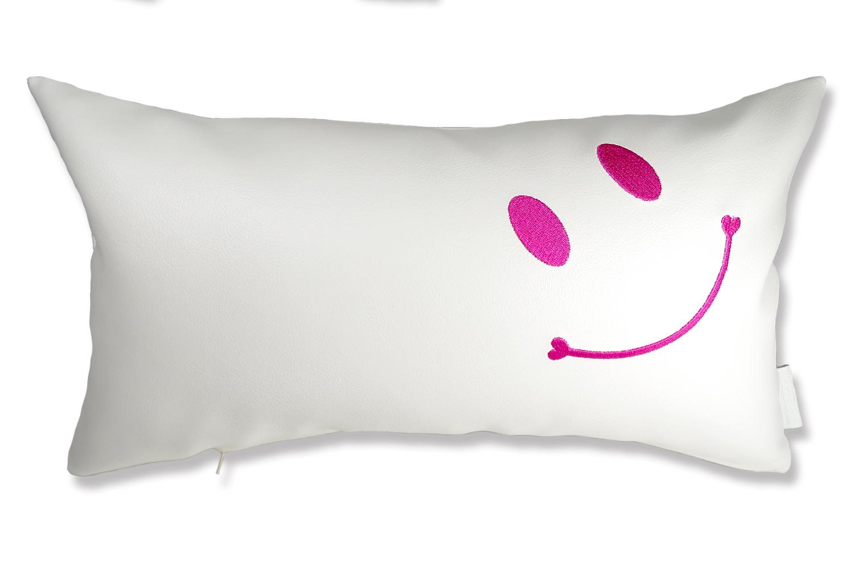 The Smile スマイル ピンク刺繍『ニコフェイス』クッション ホワイト 45×25cm 中材付