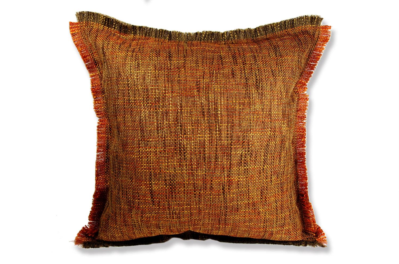 シャギーフリンジがナチュラルなオレンジミックスの美しいジャガード織ファブリックの45cmクッションカバー