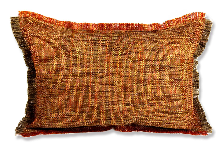 フリンジがナチュラルのオレンジの大変色合いの美しいジャガード織ファブリックの横長クッション