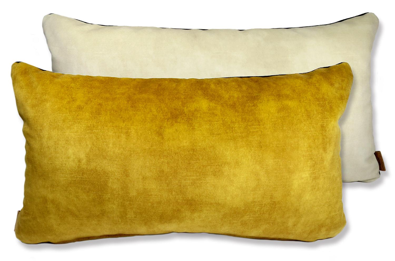 色合い美しく柔らか肌触りのフランス・カサマンス生地を使用したリバーシブルクッション(イエローゴールド&パウダースノー)